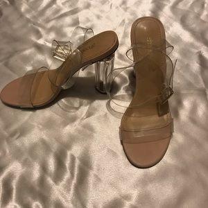 Clear open toe heels